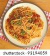 Spaghetti with tomato ragu. - stock photo