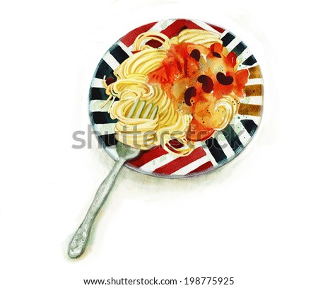 Spaghetti with tomato sauce - stock photo