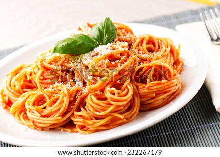 Spaghetti with tomato sauce - stock photo