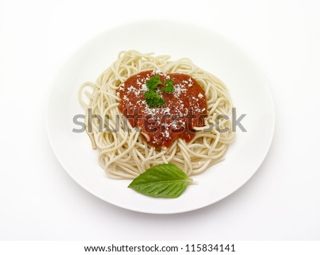 Spaghetti with tomato sauce and cheese on a plate