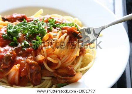 Spaghetti with tomato sauce and persil garnishings (about to taste it using a fork) - stock photo