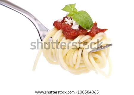 Spaghetti with tomato sauce, basil and parmesan cheese on a fork - stock photo