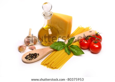 Spaghetti with tomatoes, olive oil and basil - stock photo