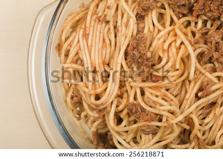 Spaghetti with tuna fish pasta  seaafood dish sea - stock photo