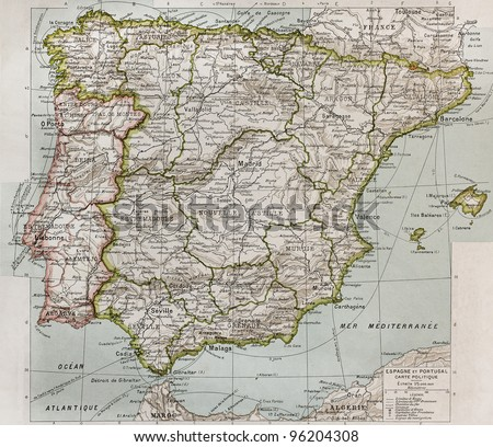 Spain and Portugal political map. By Paul Vidal de Lablache, Atlas Classique, Librerie Colin, Paris, 1894 (first edition) - stock photo