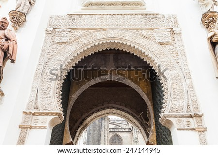 Spain, Andalusia Region. Detail of Alcazar Royal Palace in Seville. - stock photo