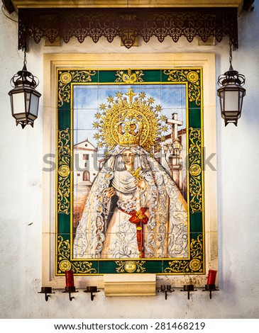 Spain, Andalusia region. Traditional Catholic Altar in public street for prayer, beginning XX century - stock photo