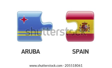 Spain Aruba High Resolution Puzzle Concept - stock photo
