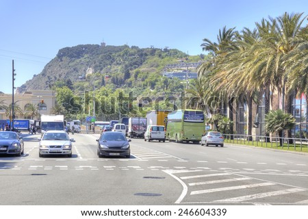 SPAIN, BARCELONA - May 5.2014: Road through the city streets