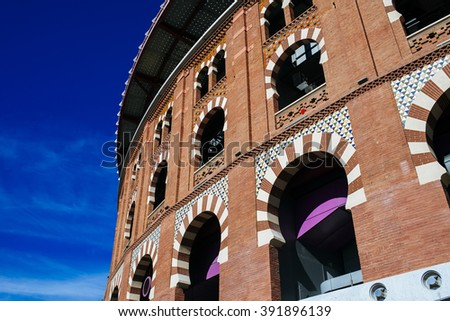 Spain, Catalonia, Barcelona, Facade of the bullring Las Arenas, now converted into a shopping center. - stock photo