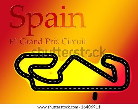 Spain Catalunya F1 Formula 1 Racing Circuit Map - stock photo