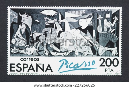 SPAIN - CIRCA 1981: a postage stamp printed in Spain showing an image of Guernica a Pablo Picasso painting, circa 1981.  - stock photo