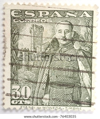 SPAIN - CIRCA 1940 : a stamp from Spain shows image of Franco, circa 1940