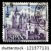 SPAIN - CIRCA 1964: A stamp printed by Spain, shows Alcazar of Segovia, circa 1968 - stock photo