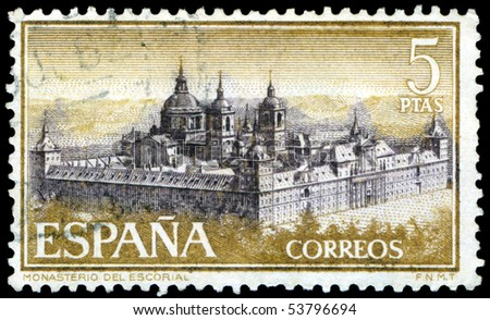 SPAIN - CIRCA 1957: a stamp printed by Spain  shows Escorial Monastery , circa 1957, Spain
