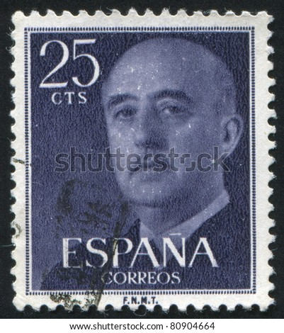 SPAIN - CIRCA 1954: A stamp printed by Spain, shows Franco, circa 1954