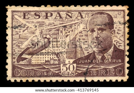SPAIN - CIRCA 1939: A stamp printed by Spain, shows Juan de la Cierva and Autogiro, was a Spanish civil engineer, pilot and aeronautical engineer, brown, circa 1939