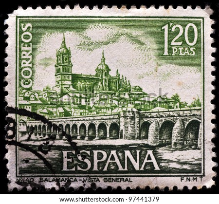 SPAIN - CIRCA 1968: A stamp printed by Spain, shows Salamanca, circa 1968