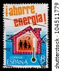 """SPAIN - CIRCA 1979: A stamp printed by Spain, shows """"Save Energy"""", circa 1979 - stock photo"""