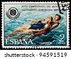 SPAIN - CIRCA 1974: A stamp printed by Spain, shows XVIII World Championship Lifesaving in Barcelona, circa 1974 - stock photo