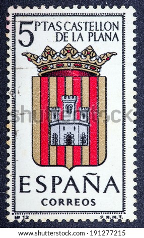 SPAIN - CIRCA 1965: A stamp printed in Spain dedicated to Arms of Provincial Capitals shows Castellon, circa 1965.