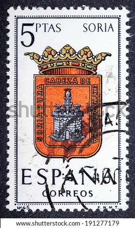 SPAIN - CIRCA 1965: A stamp printed in Spain dedicated to Arms of Provincial Capitals shows Soria, circa 1965.