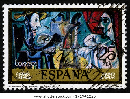 SPAIN. CIRCA 1978. A stamp printed in Spain shows a canvas image,  El Pintor y la Modelo 1978 by Pablo Ruiz Picasso - stock photo