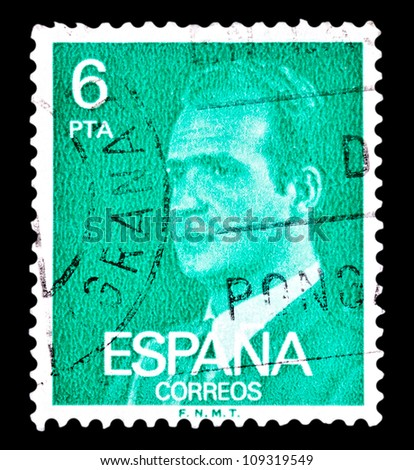"SPAIN - CIRCA 1976: A stamp printed in Spain shows a portrait of King Juan Carlos I of Spain without inscription, with imprint �F.N.M.T.�, from the series ""King Juan Carlos I"", circa 1976."