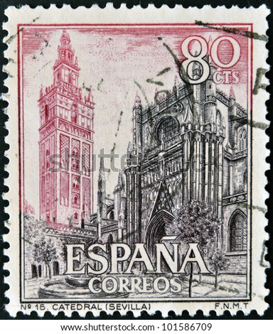 SPAIN - CIRCA 1965: A stamp printed in Spain shows Cathedral and Giralda, Seville, circa 1965