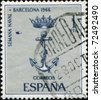 SPAIN - CIRCA 166: A stamp printed in Spain shows emblem of Naval week, Barcelona, circa 1966 - stock photo
