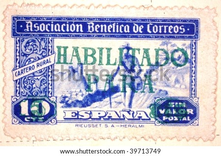 SPAIN - CIRCA 1946: A stamp printed in Spain shows image of a man walking in a rural area, series, circa 1946