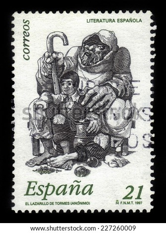 "Spain - CIRCA 1997: A stamp printed in Spain, shows image of Lazarus and blind beggar from anonymous spanish work ""the Life of Lazarus of Tormes"",circa 1997"