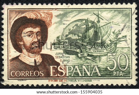 SPAIN - CIRCA  1978: A stamp printed in SPAIN  shows Juan Sebastian Elcano, circa 1978 - stock photo