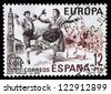 SPAIN - CIRCA 1981: A stamp printed in Spain, shows Popular Dance of Spain (La Jota), circa 1981 - stock photo