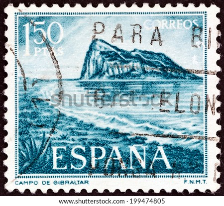 SPAIN - CIRCA 1969: A stamp printed in Spain shows Rock of Gibraltar, circa 1969.