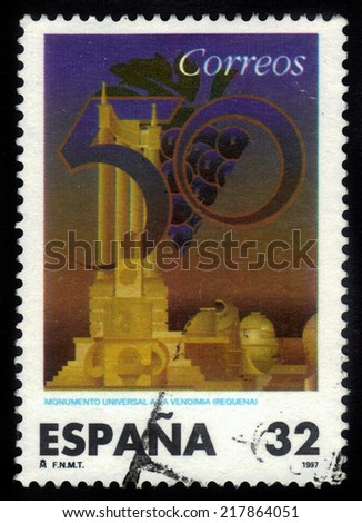 Spain - CIRCA 1997: A stamp printed in Spain, shows universal monument to the grape in Requena (Valencia), circa 1997
