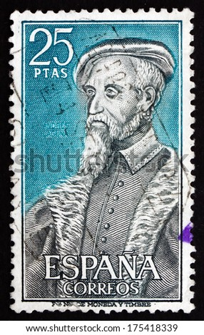 SPAIN - CIRCA 1967: a stamp printed in the Spain shows Andres Laguna de Segovia, 16th Century Physician, circa 1967