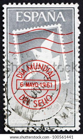 SPAIN - CIRCA 1961: a stamp printed in the Spain shows Canceled Stamp, White Dove, circa 1961