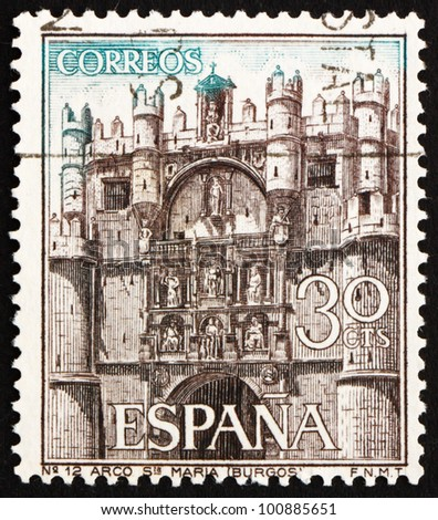 SPAIN - CIRCA 1965: a stamp printed in the Spain shows Facade of Cathedral of Santa Maria, Burgos, Spain, circa 1965