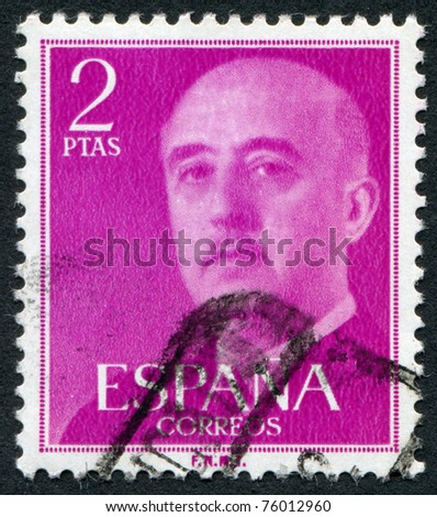 SPAIN-CIRCA 1956: A stamp printed in the Spain, shows Gen. Francisco Franco, circa 1956