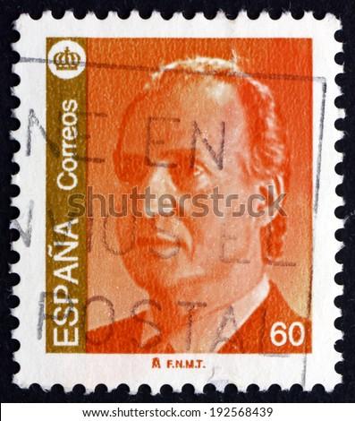 SPAIN - CIRCA 1995: a stamp printed in the Spain shows King Juan Carlos of Spain, circa 1995 - stock photo