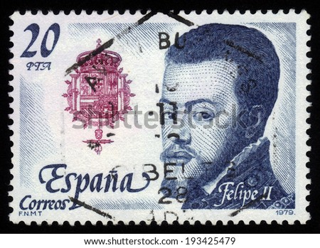 SPAIN - CIRCA 1979: a stamp printed in the Spain shows Kings of the House of Austria (Hapsburg Dynasty): Philip II, King of Spain, series Royalty and Monarchies, circa 1979 - stock photo