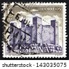 SPAIN - CIRCA 1970: a stamp printed in the Spain shows Sadaba Castle, Aragon, Middle Ages Castle, circa 1970 - stock photo