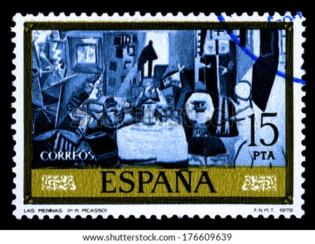 "SPAIN CIRCA 1978. A stamps printed in Spain shows a canvas image ""las meninas"" by Pablo Ruiz Picasso  homage  to Diego Velazquez - stock photo"