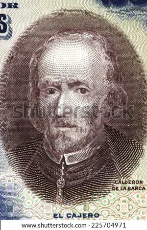 SPAIN - CIRCA 1928: Pedro Calderon de la Barca (1600-1681) on 25 Pesetas 1928 banknote from Spain. Dramatist, poet and writer of the Spanish Golden Age. - stock photo