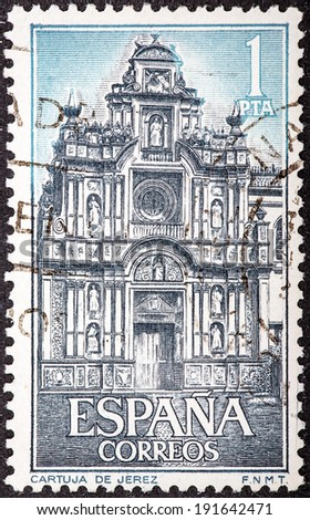 SPAIN - CIRCA 1966: stamp printed by Spain, shows Carthusian Monastery, Jerez, Portal, circa 1966