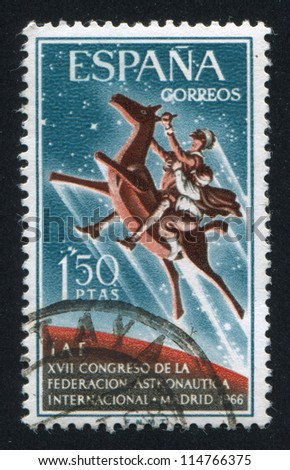 SPAIN - CIRCA 1966: stamp printed by Spain, shows Don Quixote and Sancho Panza on Clavileno, circa 1966