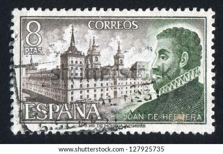 SPAIN - CIRCA 1973: stamp printed by Spain, shows Juan de Herrera and Escorial, circa 1973 - stock photo