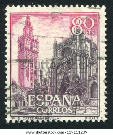 SPAIN - CIRCA 1965: stamp printed by Spain, shows La Giralda and Cathedral of Seville, circa 1965