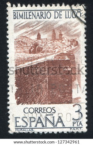 SPAIN - CIRCA 1976: stamp printed by Spain, shows Lugo city wall, circa 1976